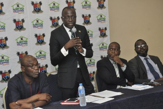 Lagos Finance Commissioner, standing with other at the stakeholders engagement on the Lagos Land Use charge