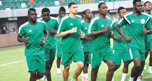 Super Eagles players in training