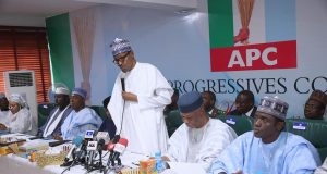 President Buhari at the APC Meeting