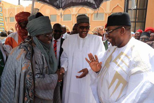 President Buhari with Bauchi State Governor Mohammed Abubakar and Emir of Bauchi Alh. Rilwanu Suleiman Adamu