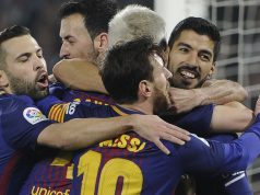 Barca players celebrating Copa del Rey victory