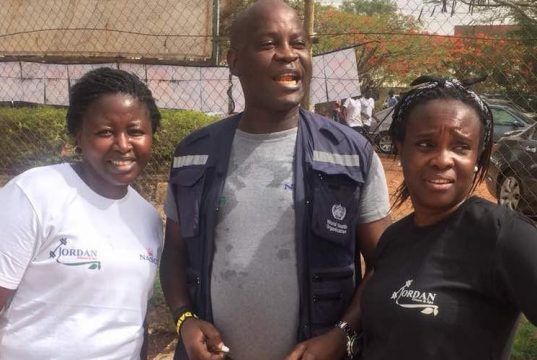 CEO of Jordan Fitness Centre, Funmi Lass and Plateau State Coordinator of World Health Organisation (WHO), Williams Wazungu, during the just-concluded #Walk for Good Health# programme