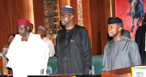 From left: Chief of Staff, Abba Kyari; SGF, Boss Mustapha and Vice President Yemi Osinbajo at the Federal Executive Council Meeting in Abuja on Wednesday