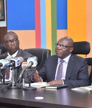 Lagos State Commissioner for Works & Infrastructure, Engr. Adebowale Akinsanya (2nd right), addressing the media during the on-going Y2018 ministerial briefing at the Bagauda Kaltho Press Centre,