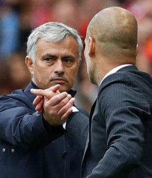 Coaches Jose Mourinho of Man Utd and Pep Guardiola of Man City