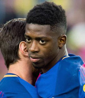 Ousmane Dembele with Messi