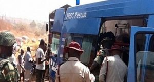FRSC officials at a road accident along Bauchi-Kano highway