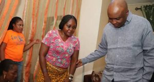 Saraki visits injured Sergeant-At-Arms, Mrs. Sandra Davou