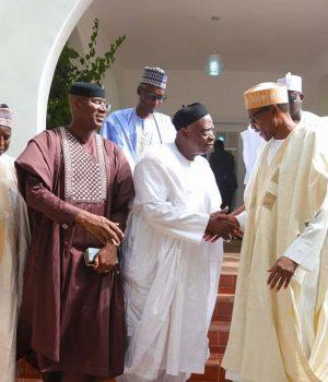 President Buhari receives Senators Abdullah Adamu, Sen. Ovie Omo-Agege, Sen. Ali Ndume, Sen. Babajide Omoworare, Sen. Adamu Abubakar, Sen. Yusuf Yusuf, Sen. Hassan Adamu, Sen. Abu Ibrahim and Sen. Umaru Kurfi in Daura