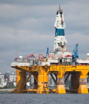 The Shell Oil Company's drilling rig Polar Pioneer is shown in Seattle, Washington