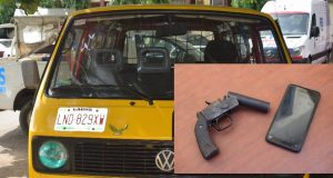 The Danfo bus, inset: Local gun and phone