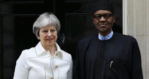 Theresa May and Buhari at 10 Downing Street