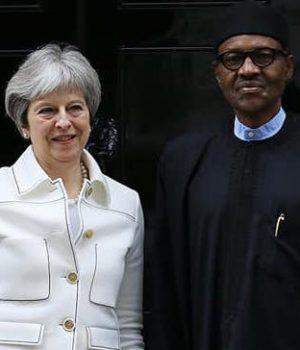 Theresa May and Buhari at 10 Downing Street