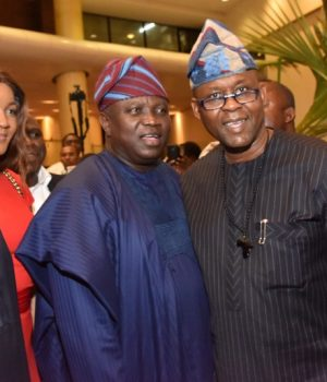 Ambode (middle); Nollywood Actress, Omotola Jalade-Ekeinde (2nd left); former President of Ghana, John Dramani Mahama (left) and Minister of Information & Culture, Lai Mohammed (right) and Founder, La Campagne Tropicana Beach Resort, Otunba Olawanle Akinboboye (right) during the Lagos Tourism Summit
