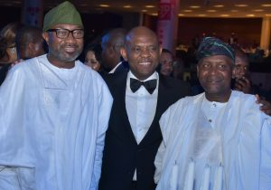 Femi Otedola, Tony Elumelu and Aliko Dangote at the UBA CEO Awards