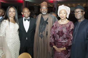 Elumelu and wife, Awele; Deputy Managing Director, Total E&P Nigeria, Alhaji Ahmadu-Kida Musa; and Former Governor of Ekiti State, Otunba Niyi Adebayo and wife, Angela
