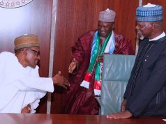 President Buhari with Customs boss Ahmed Alli and other members of the Buhari Support Group,