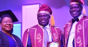 Gov. Ambode flanked by UNILAG VC Prof. Oluwatoyin Ogundipe (right) and Registrar, Dr. (Mrs) Taiwo Folasade Ipaye