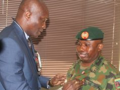 GOC 81 Div., Major-General Enobong O. Udoh during a visit to EFCC Lagos