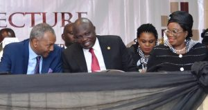 Gov. Ambode sandwiched by the representative of Chief Justice of Nigeria (CJN), Justice Olabode Rhodes-Vivour (left) and Lagos State Chief Judge, Justice Opeyemi Oke (2nd right)