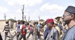 Gov. el-Rufai during his visit to scene of the clashes