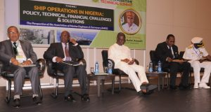 NIMASA DG, Dakuku Peterside, 3rd left with others at the Association of Marine Engineers and Surveyors