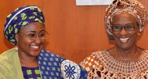Aisha Buhari with leader of the NGO, Aisha Pamela Sadauki,