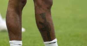 Sterling's tattoo was pictured during training on Bank Holiday Monday