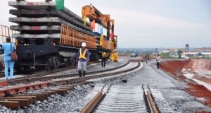 Workers at the construction site of the Lagos-Ibadan standard gauge rail line