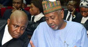 Sambo-Dasuki and his counsel Ahmed Raji