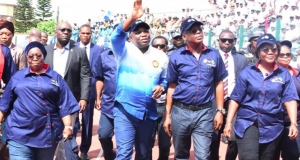 Dep. Gov. Idiat Adebule, Gov. Ambode and Head of Service, Folasade Adesoye, others at the 2018 Workers Day parade