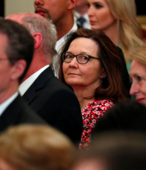 U.S. Central Intelligence Agency (CIA) director nominee Gina Haspel (C) attends Secretary of State Mike Pompeo's ceremonial swearing-in at the State Department in Washington, U.S. May 2, 2018.