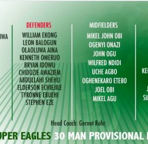 Super Eagles' World Cup provisional list