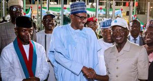 President Buhari congratulates new chairman, Adams Oshiuomhole at the APC Convention