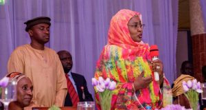 Aisha Buhari addressing the gathering