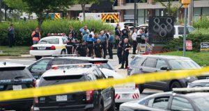 Police cordon the crime scene