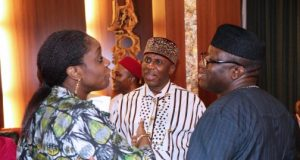 L-R- Kemi Adeosun, Rotimi Amaechi and Kayode Fayemi after the FEC meeting
