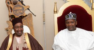 Emir of Lafia, HRH. Dr. Isa Mustapha Agwai and Chairman, Aliko Dangote Foundation, Aliko Dangote at the Emir's Palace during a courtesy visit by the Board of Dangote Foundation to the Palace of the emir at the weekend.