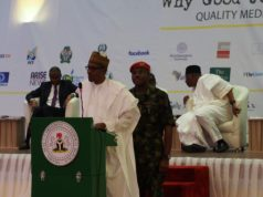 President Buhari addresses the IPI World congress in Abuja