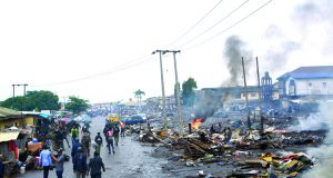 Scene of illegal shanties and structures demolished by the Lagos State government at the Oko-Oba abattoir and Lairage Complex, Agege