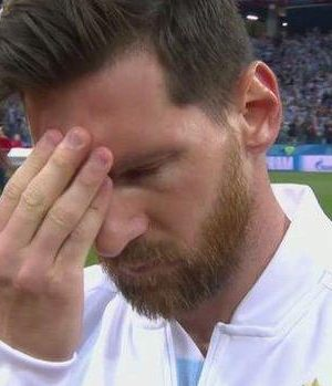 Lionel Messi looked deeply stressed before kick-off against Croatia