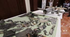 A picture taken on June 19, 2018 shows debris of Iranian-made Ababil drones displayed in Abu Dhabi.