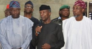 Osinbajo, middle with Govs Ambode and Rauf Aregbesola