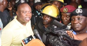 Gov. Ambode at the scene of fuel tanker fire on Otedola Bridge