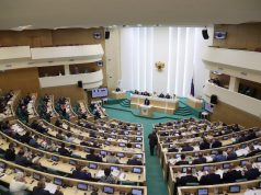 Nigeria's Senate president Bukola Saraki addresses the Russian parliament