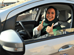 Saudi woman behind wheel