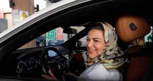 Saudi woman behind wheel
