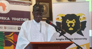 """Lai Mohammed speaking at the 2018 """"Africa Together Conference'' at the University of Cambridge, UK, on Saturday"""