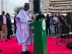President Buhari delivering his speech at the APC National Convention
