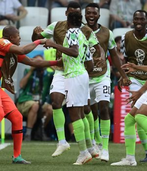 Super-Eagles players jubilating victory over Iceland